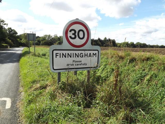 Finningham Village Name sign on the B1113 Walsham Road