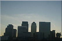 TQ3680 : View of Canary Wharf from a Thames Clipper boat by Robert Lamb