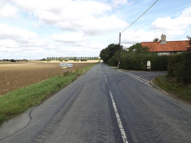 Entering Gislingham on the B1113 Finningham Road