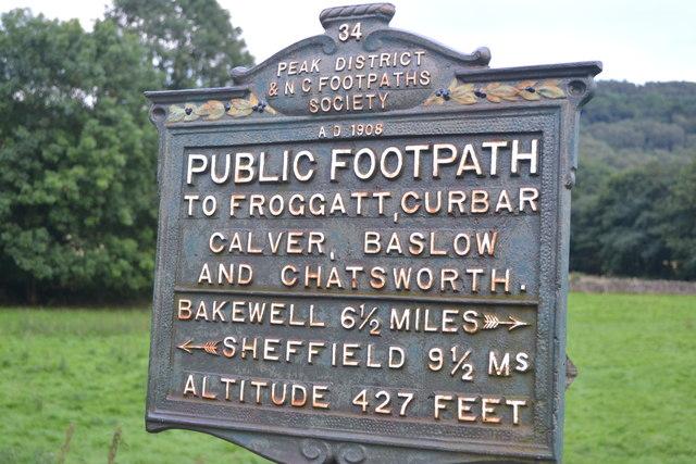 Footpath sign at Grindleford