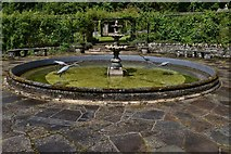 NJ1736 : Ballindalloch Castle: The circular pond in the Rose Garden by Michael Garlick