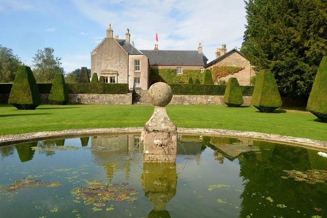 Pond and Fountain in Pitmedden Garden, Aberdeenshire