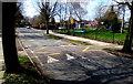 SO9121 : Zigzag markings and speed bump on Robert Burns Avenue,  Cheltenham by Jaggery