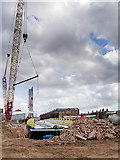 SJ8297 : Ordsall Curve Construction, Installation of New Footbridge over the Irwell by David Dixon