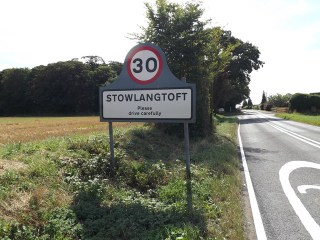 Stowlangtoft Village Name sign on the A1088 Stow Lane