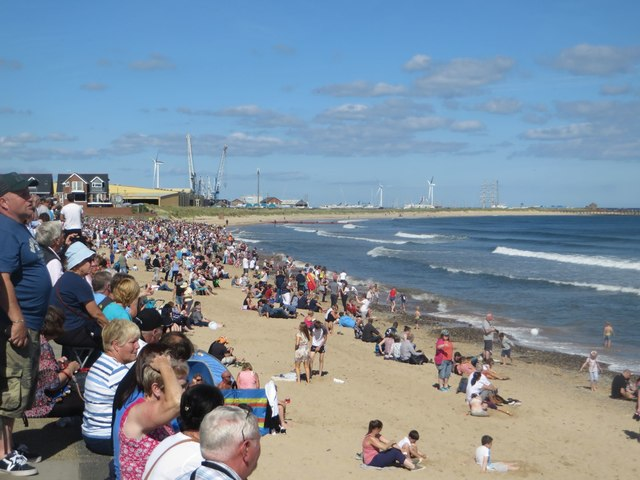 Crowds on South Beach, Blyth, watching the Tall Ships depart
