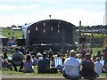 NZ3279 : Temporary stage on Blyth Links by Graham Robson