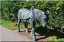 SP6989 : Towing horse sculpture on the towpath at Foxton by David Martin