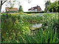 SO9655 : Pond and Church Farm House, Grafton Flyford by Jeff Gogarty