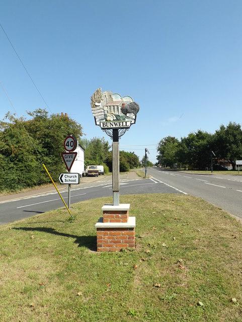 Bunwell Village sign