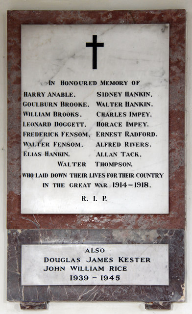 St Peter & St Paul, Dry Drayton - War Memorial WWI & WWII