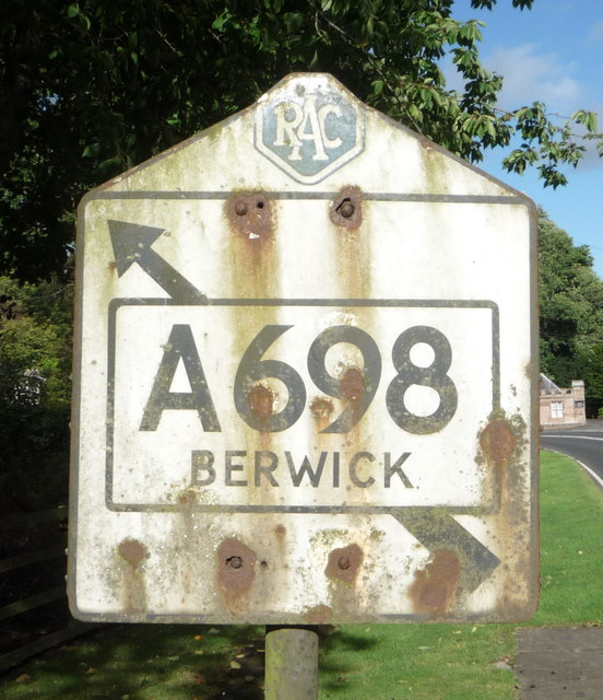 Close up, old RAC Pre Worboys road sign