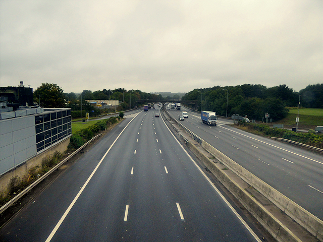M1 Motorway, Looking North from Newport Pagnell Services