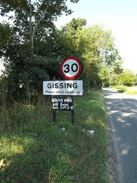 Gissing Village Name sign on Burston Road