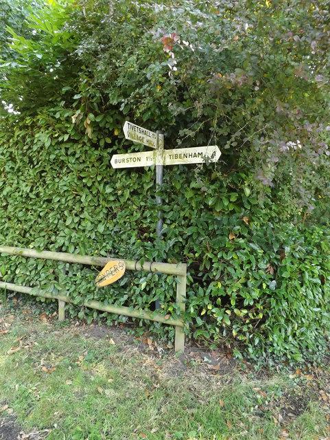 Roadsign on Burston Road