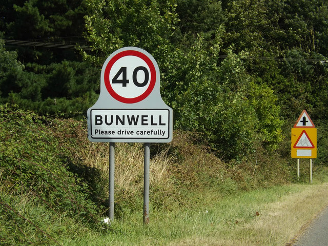 Bunwell Village Name sign on the B1113 The Turnpike