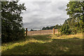TQ2897 : Gate into Farmland, Trent Park, Cockfosters, Hertfordshire by Christine Matthews