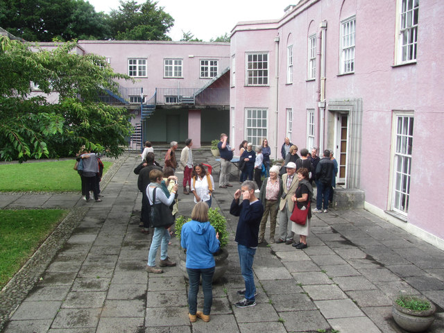 Former pupils at a reunion in the Former Foxhole School Courtyard