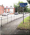 SJ8889 : Cycle route signpost, Mercian Way, Stockport by Jaggery