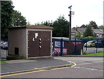 SJ8889 : Football Ground electricity substation, Edgeley Park, Stockport by Jaggery