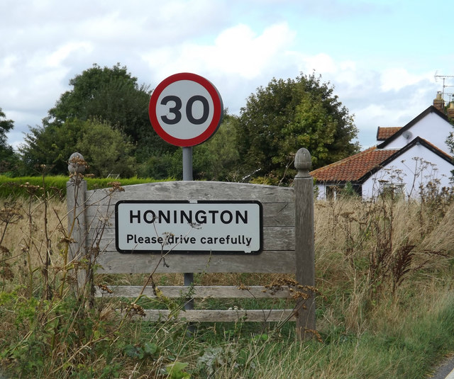 Honington Village Name sign on the A1088 Ixworth Road