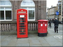 NT2574 : Double Elizabethan postbox and telephone box on St Andrew Square, Edinburgh by JThomas