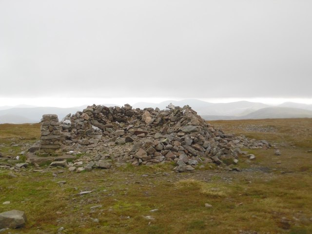Trig point and wind shelter on Glas Maol