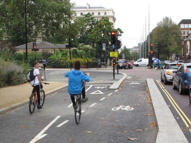 Wheelies on cycle superhighway, Hyde Park