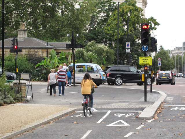 Cycle and pedestrian traffic lights on cycle superhighway, Hyde Park