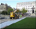 SJ8498 : Men at work in Piccadilly Gardens by Gerald England