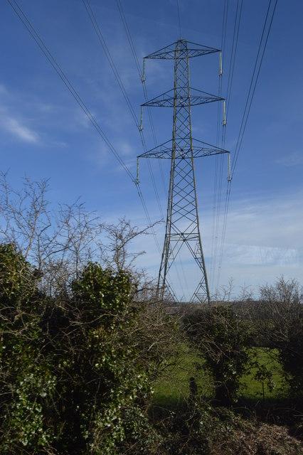 Pylon near Bere Ferrers