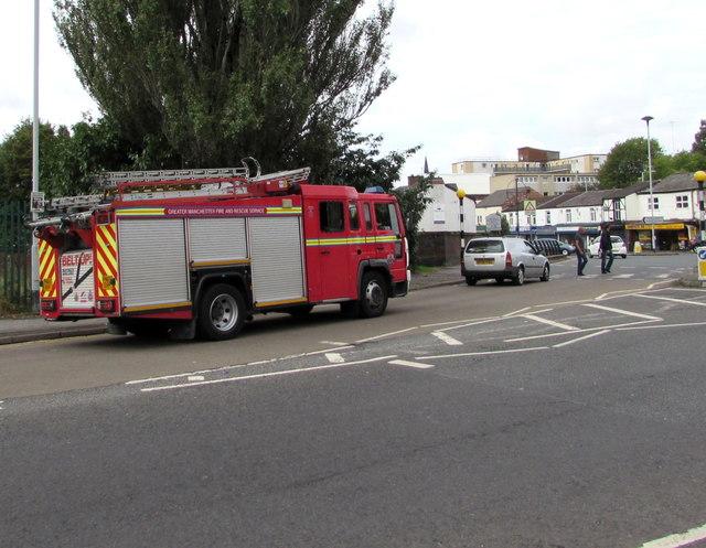 Fire engine in Shaw Heath, Stockport