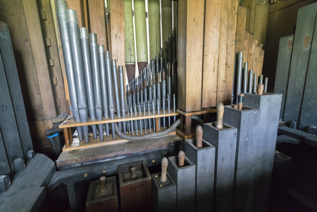 Organ internals, St Andrew's church, Bonby