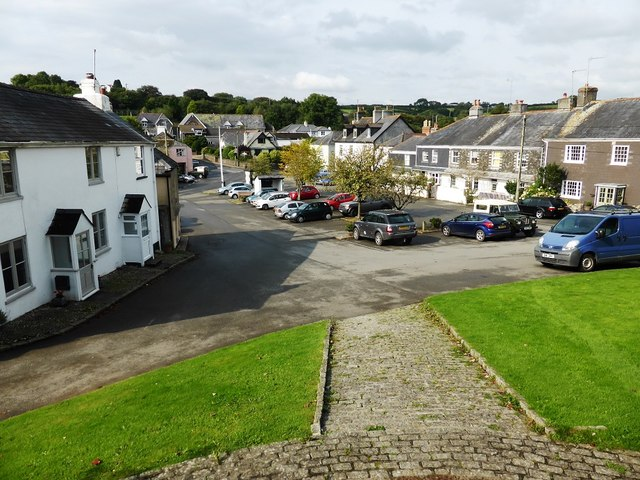 Ugborough village centre, from the church steps