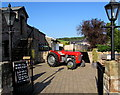 ST5696 : Old Massey Ferguson tractor named Muddy outside Hanley Farm Shop by Jaggery