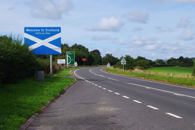Welcome to Scotland sign on the A7 road, near Scotsdike, Dumfries & Galloway