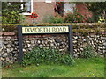 TL8972 : Ixworth Road sign by Adrian Cable