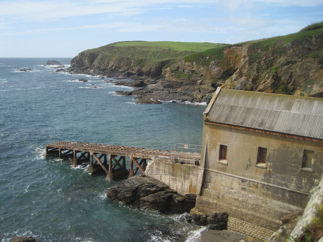 Old lifeboathouse and Polpeor Cove