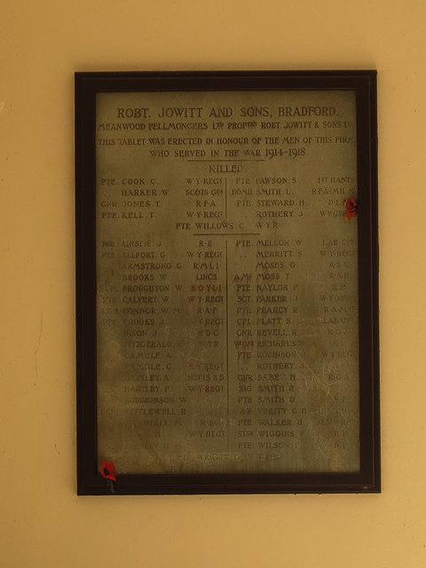 War memorial in the former Highbury Works