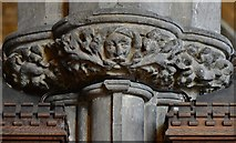 TA0322 : Barton on Humber, St. Mary's Church: c14th green man capital carving in the chancel 3 by Michael Garlick