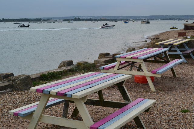Coloured seaside tables