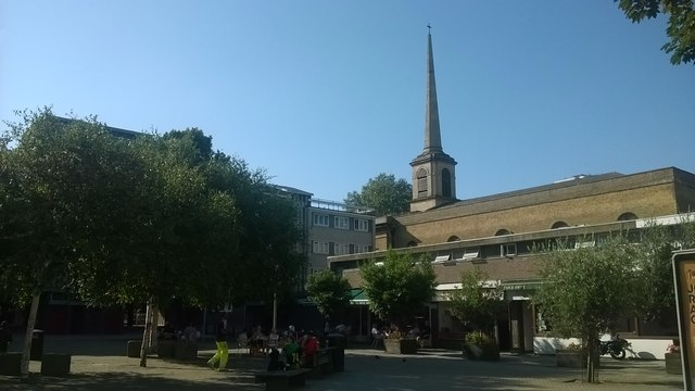 St Clement Finsbury and pedestrian square