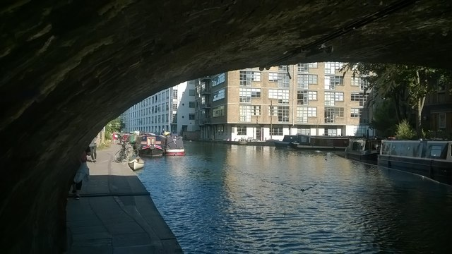 Regent's Canal, looking east under Wharf Road Bridge
