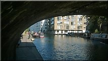 TQ3283 : Regent's Canal, looking east under Wharf Road Bridge by Christopher Hilton