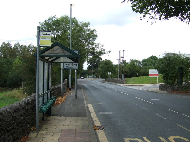 Bus stop and shelter on Chatburn Road (A671)