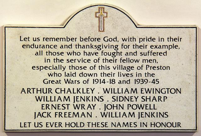 St Martin, Preston - War Memorial WWI & WWII