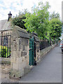 NZ2363 : Railings and walls at the Hospital of St. Mary the Virgin Almshouses by Mike Quinn