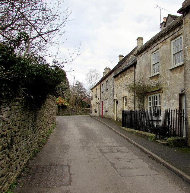 Towards a bend in Friday Street,  Minchinhampton