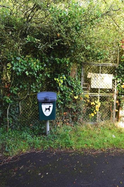 Dog waste bin and sign, near Carterton, Oxon