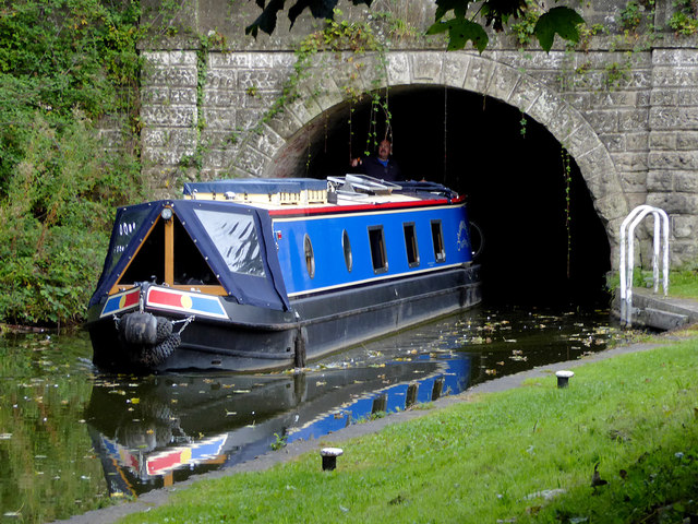 Narrowboat emerging from Snarestone Tunnel, Leicestershire